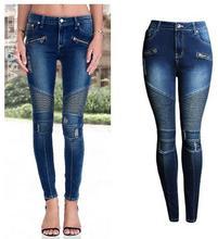 2017 Women Punk Motorcyle Patchwork Stretch Jeans Full Length Slim Denim Panst Female Hole Pencil Pants Jeans Femme Trousers K12