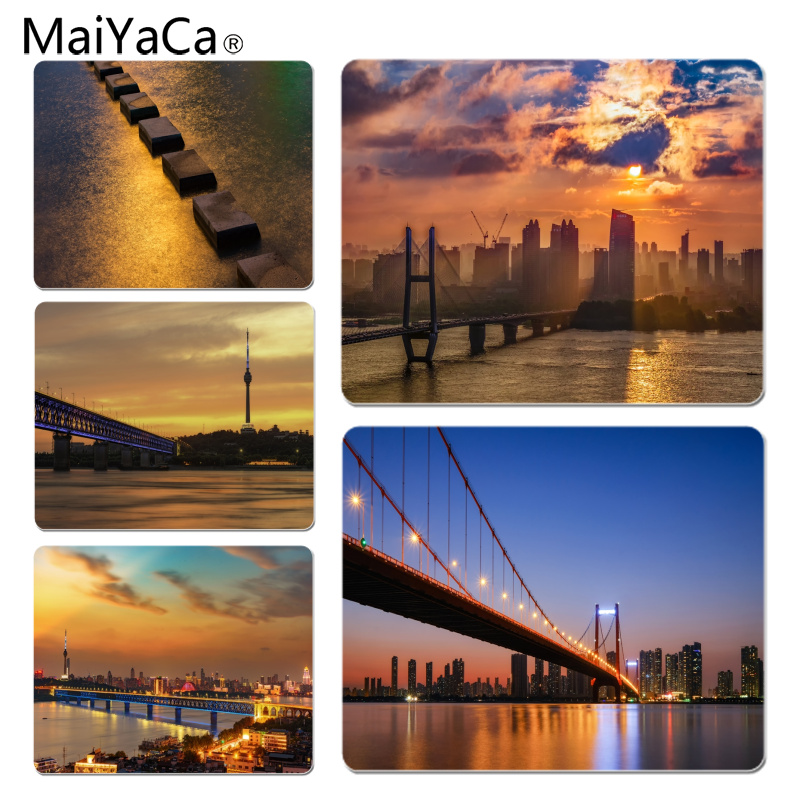 MaiYaCa Beautiful Anime Sunset Yangtze River Bridge Scenery Customized laptop Gaming mouse pad Size for 25x29cm Small Mousepad