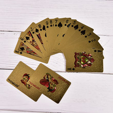 1 jeu de cartes à jouer en feuille d'or Texas Hold'em Poker carte de Poker plaquée or jeux amusants de haute qualité(China)