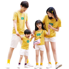 Family Look family matching clothes Summer Striped T-shirt+ short kids Baby clothing mommy and me madre e hija