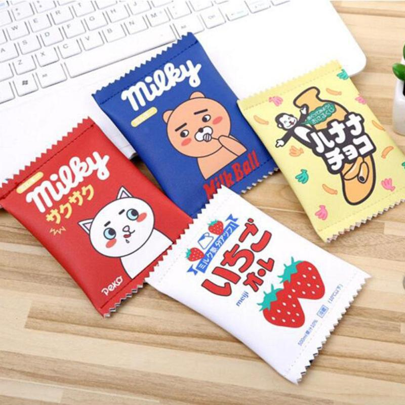 Kawaii Cute Creative Snacks Coin Girl Purse Fashion Cartoon PU Leather Wallet Zipper Key Chain Mini Money Bag For Kids Gift