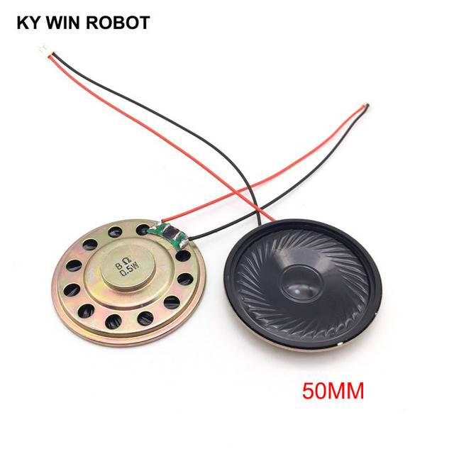 Altavoz ultradelgado de 8 ohmios, 0,5 vatios, 0,5 W, 8R, diámetro de 50MM, 5CM de grosor, 5MM, con terminal PH2.0, longitud de cable de 10, 2 uds.