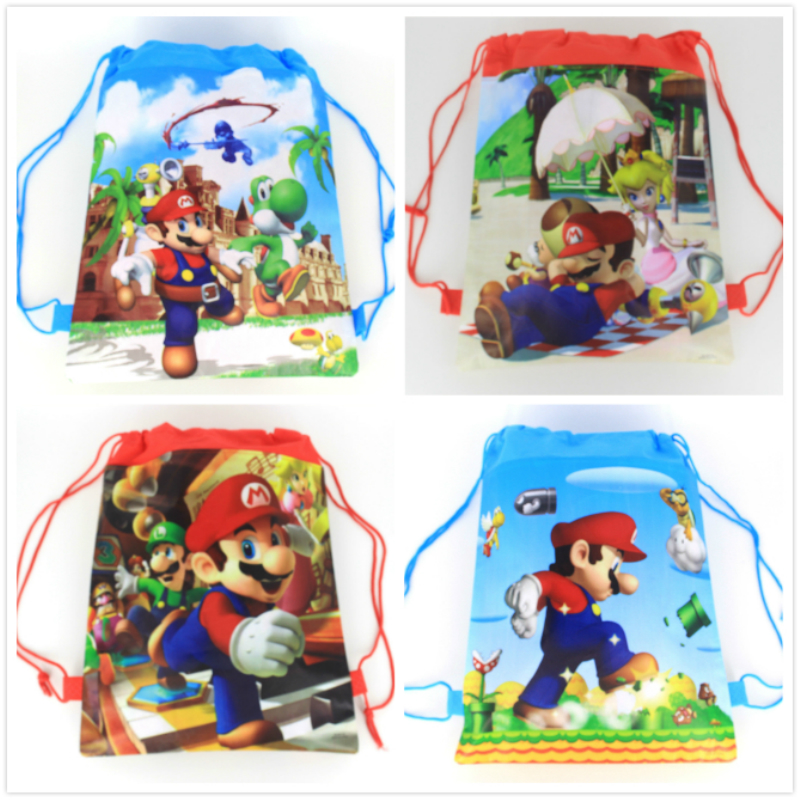 1pack 34 27cm Super Mario non woven fabrics drawstring bags backpack boy kids Gift bag Birthday Party Favor in Gift Bags Wrapping Supplies from Home Garden