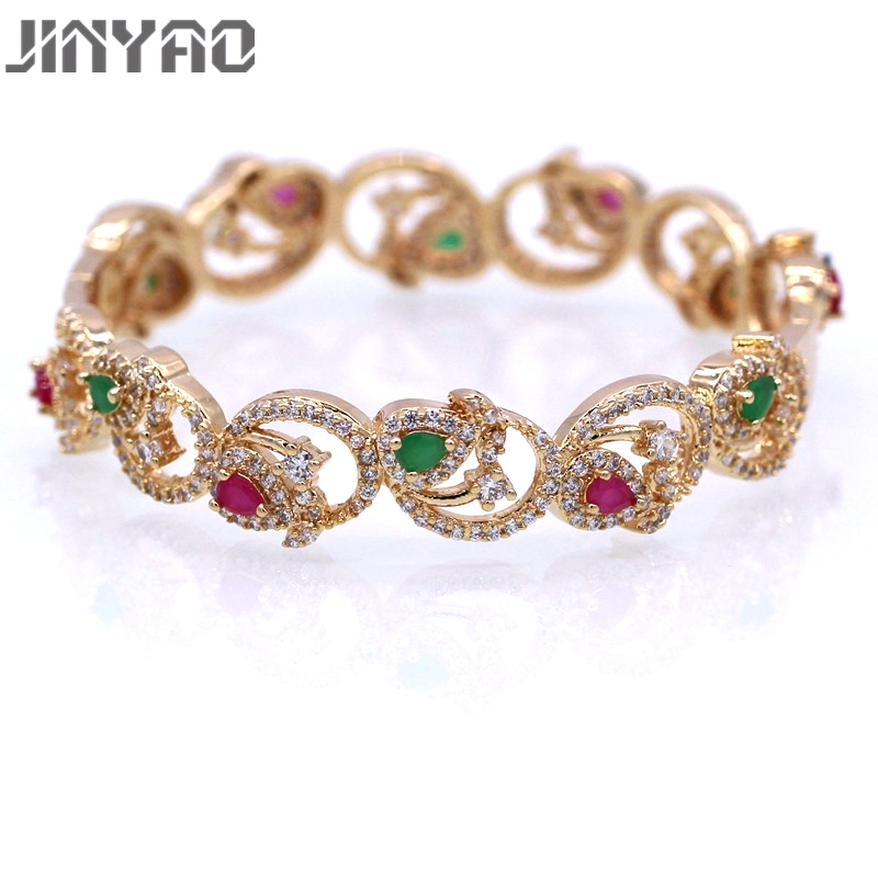 JINYAO Gorgeous Champagne Gold Color Green&Red AAA Cubic Zircon Bracelet Bangle For Women Gift D11-2