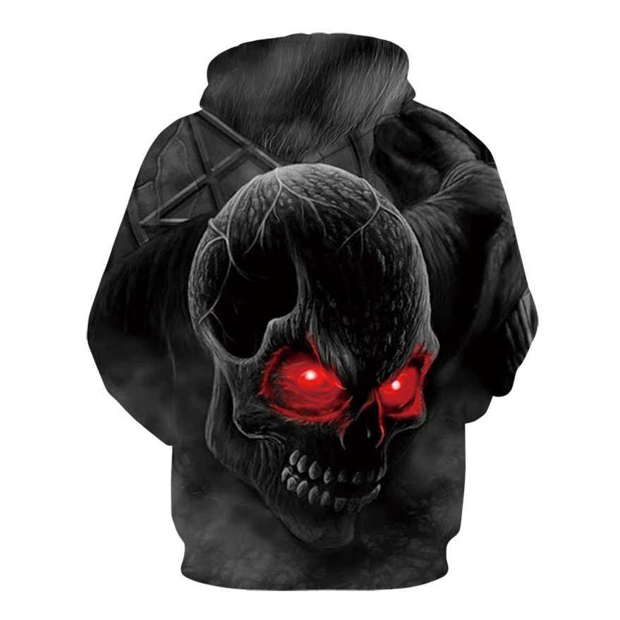 f12691fec083 ... 2018 new Blue Red 3d Skull Hoodie Men Women Fashion Winter Spring  Sportswear Hip Hop ...
