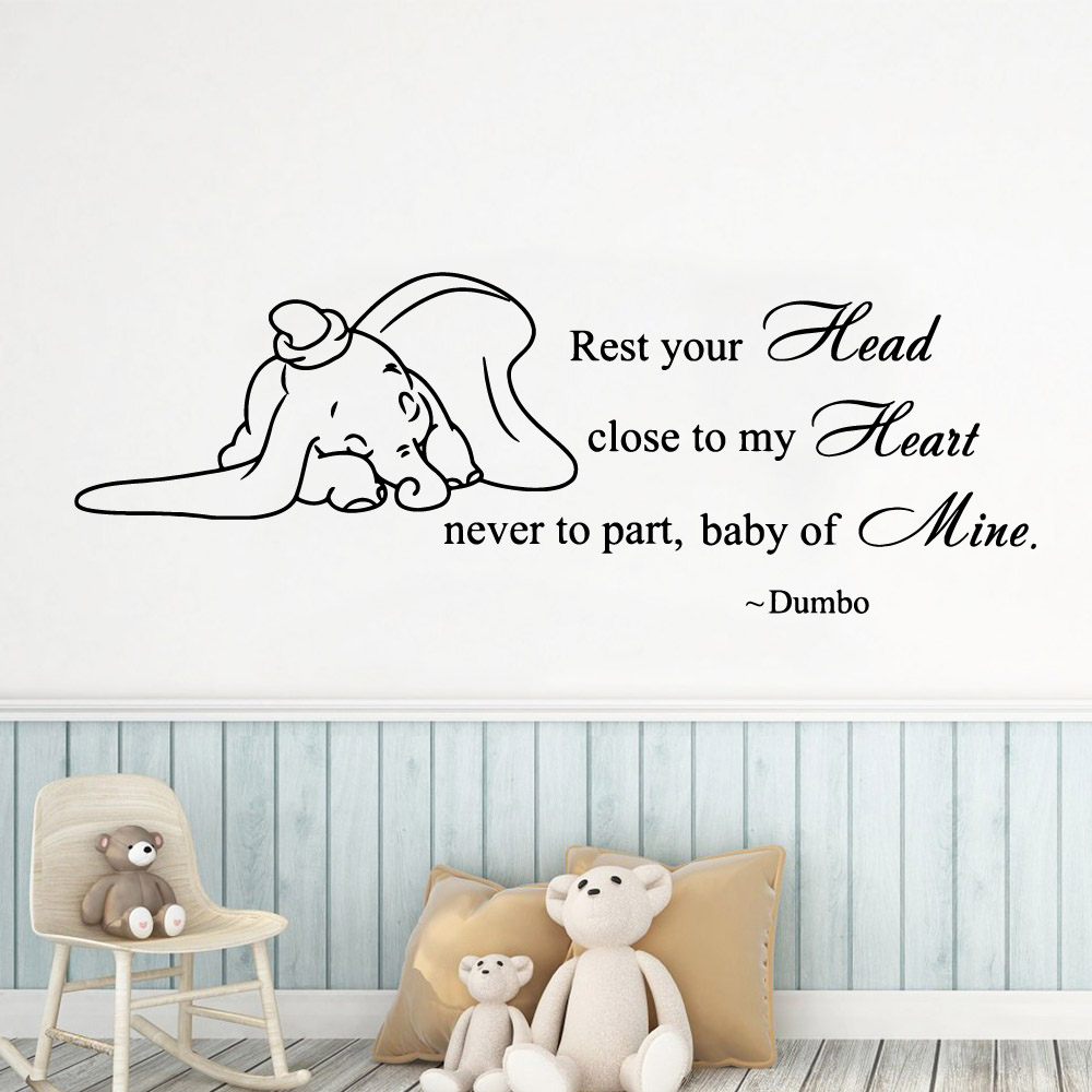 Coração do bebê do divertimento elefante Decorações Home Pvc Decal Para Crianças Quarto Decoração Arte Decalque