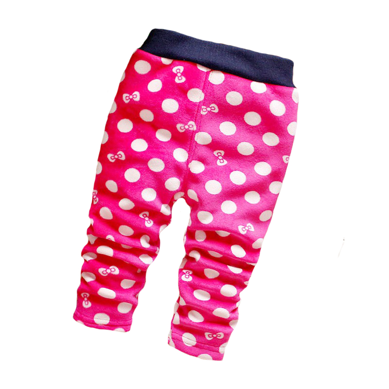 Girl baby leggings 2016 winter cotton fleece warm fashion dot baby leggings baby pants 0 2