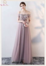 Pink Princess Evening Dress 2019 Spring Style Boat Neck Off Shoulder Floor Length Sleeveless Sexy Illusion Lace Up Prom Gowns