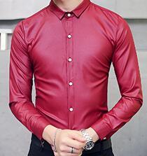 2016 Czerwone Koszule Męskie Błyszczący Czarny Camisa Slim  d0u80