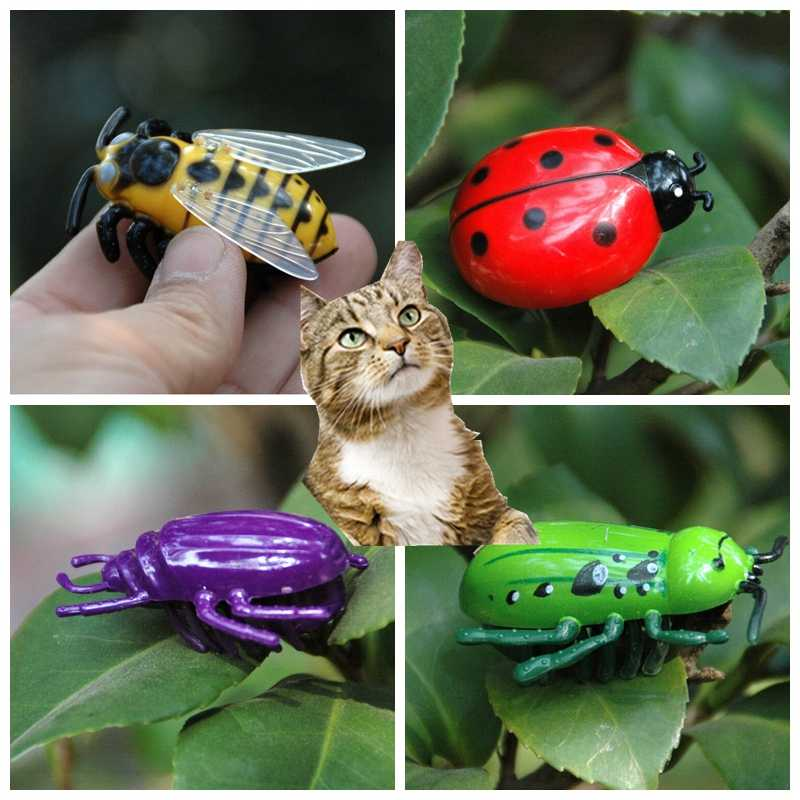 [MPK Cat Toys] Battle Bugs in 4 Designs, Battery Powered Mini Toys For  Cats, Ladybug Ladybird, Hornet, Electronic Beetle