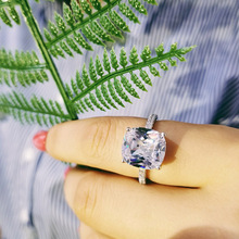 цена 925 Sterling Silver Rings finger Engagement Wedding Ring Jewelry for Women Princess-cut 3ct Simulated Diamond Platinum size 5-9 в интернет-магазинах