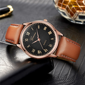Luxury  Vintage Style Leather Strap Wrist Watch For Ladies with Roman Numbers Dial Rose Gold Case Clock  1
