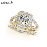 AINUOSHI Fashion 925 Sterling Silver Women Wedding Ring Set Yellow Gold Color Round Halo Ring Sets Anniversary Party Jewelry