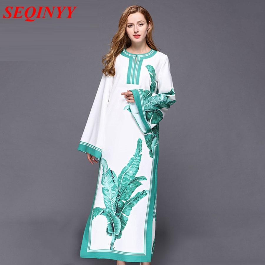 Mode longue robe 2017 automne tempérament élégant blanc lâche mince doux imprimé feuille de banane robe européenne