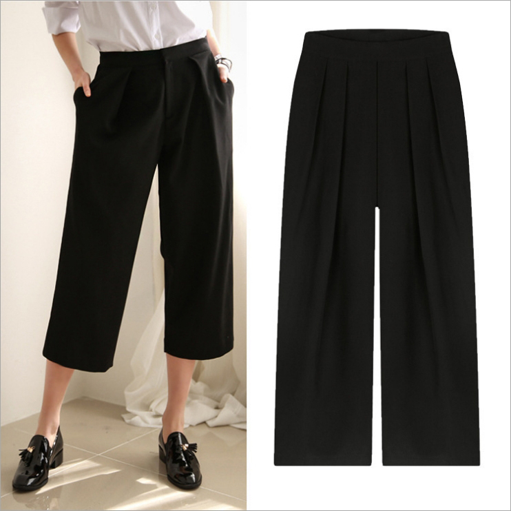 Compra negro pantalones capri online al por mayor de China