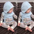 2 PCS Da Criança Do Bebê Meninas Menino Casaco Quente Com Capuz Tops Calças Veados Outfits Roupas Definidos