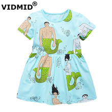 VIDMID Filles Robes D'été vêtements de mode Marque Princesse Robe pour les filles Enfants Costume Sirènes Imprimer Enfants Vêtements Robe