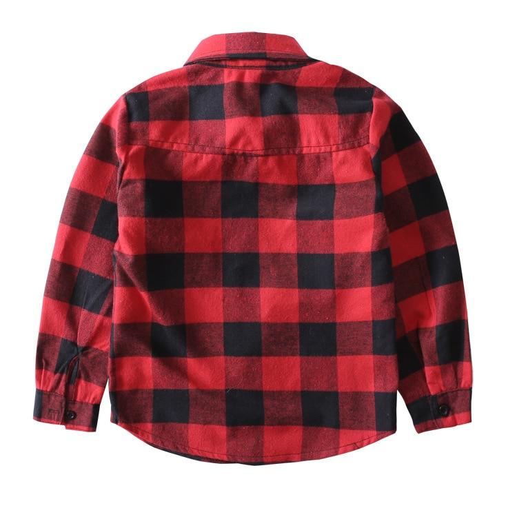 Këmishë vjeshte 2017 për djem dhe vajza Bluzë me pllaka të kuqe - Veshje për fëmijë - Foto 2