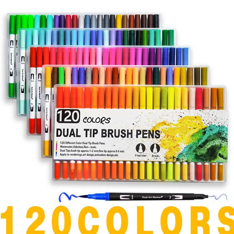 120 Colors Art Markers Dual Tips Coloring Brush Fineliner Color Pens Water Marker For Calligraphy Drawing Coloring Book