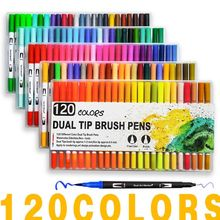 купить 120 Colors Art Markers Dual Tips Coloring Brush Fineliner Color Pens Water Marker for Calligraphy Drawing Coloring Book по цене 338.81 рублей
