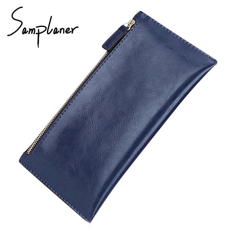 Samplaner Vintage Genuine Leather Clutch Bag Women Long Wallets Zipper Clutches Ladies Wallet Long Purse Card Money Bag Female women genuine leather character embossed day clutches wristlet long wallets chains hand bag female shoulder clutch crossbody bag