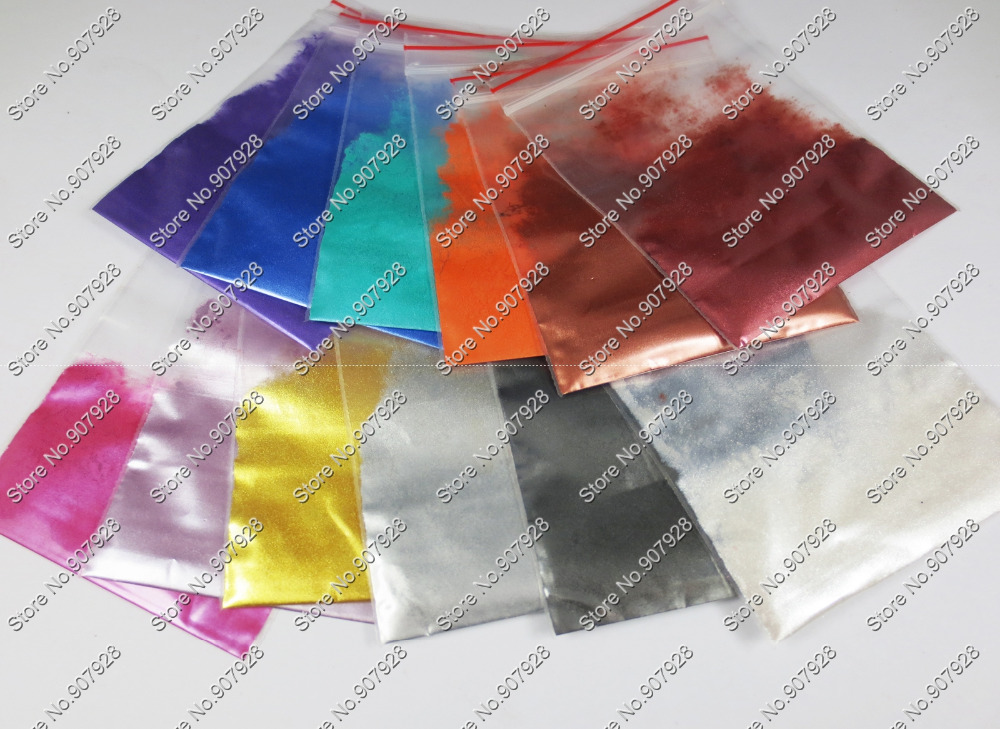 120 gram = 12 צבעים קוסמטי פיגמנט Pearlescent נציץ ממס עמיד אבק אבקה לנייל DIY אמנות פולני & איפור צלליות