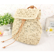 8b35ecc3ad 2 Color Women Bag Backpack With Hand Made Casual Style Backpacks Paper Yarn Straw  Bag Beach
