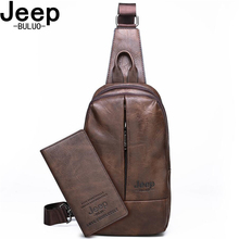 JEEP BULUO Brand High Quality Men Travel Shoulder Bag Cool Big Size Mens Chest Luxury Double Zipper Crossbody Sling Bags