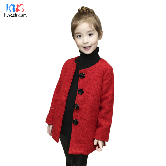 Kindstraum 2017 European Style Children Solid Wool Coats Brand Princess Boottons Blends Spring & Autumn O-neck Outerwear,RC829