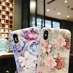 KISSCASE 3D Relief Floral Phone Case For iPhone 6s 7 XS Max Case Girly Silicon Cover For iPhone 6 S Cases iPhone 7 8 Plus XS XR 3
