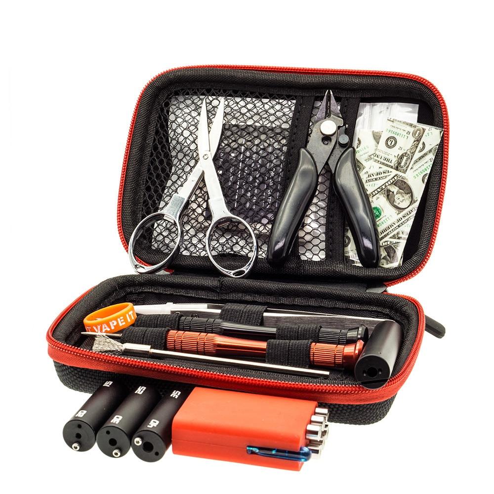 Vape DIY Tools Kit Bag With Coiling Kit V4 Tool Tweezer Pliers Screwdriver Cotton DIY Coil Jig For RTA RDA RDTA Atomizer