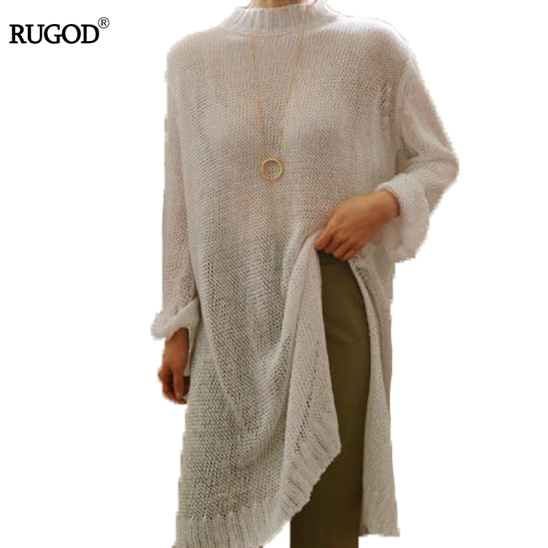 RUGOD Sexy See-through Split Knitted Sweater Dress Women Autumn Winter Dress Female Loose Turtleneck Long Sleeve Warm Dresses maternity clothes fall pregnant women sweater knitting dress autumn winter knitted female loose warm pullover cute lady dresses