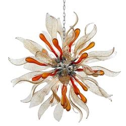 Okrągły kwiat dmuchanego szkła żyrandol  kolorowe sztuki żyrandol ze szkła Murano w Żyrandole od Lampy i oświetlenie na