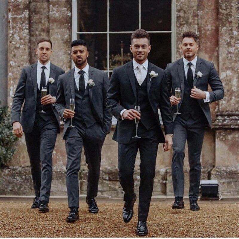 2019 Formal Groomsmen Wedding Suit Tuxedos Three Pieces (Top+Pants+Vest) Bestmen Wedding Tuxedos Suits Formal Business Men Work