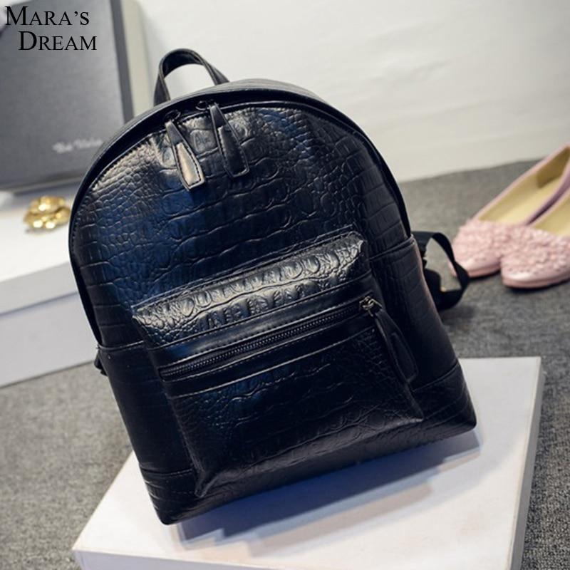 2017 Fashion Women Leather Backpacks Alligator Crocodile Schoolbags For Teenagers Girls Female Bagpack Mochila Feminina чехол prime rocca для iphone 6 plus black