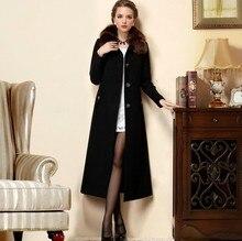 2016 New Women Winter Jacket Big Fox Fur Collar Female Woolen Outerwear Ultra Long Design Wool Coat Women'S Fur Coat Size S-4XL