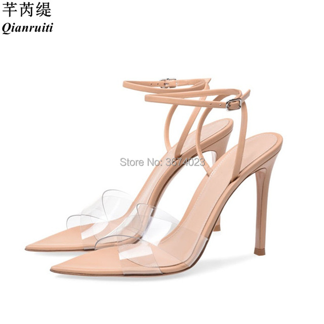 db23f0b1b260 Qianruiti Summer Clear Sandals Women Transparent High Heels PVC Cross  Stilettos Ankle Strap Perspex Heeled Western Design Sandal