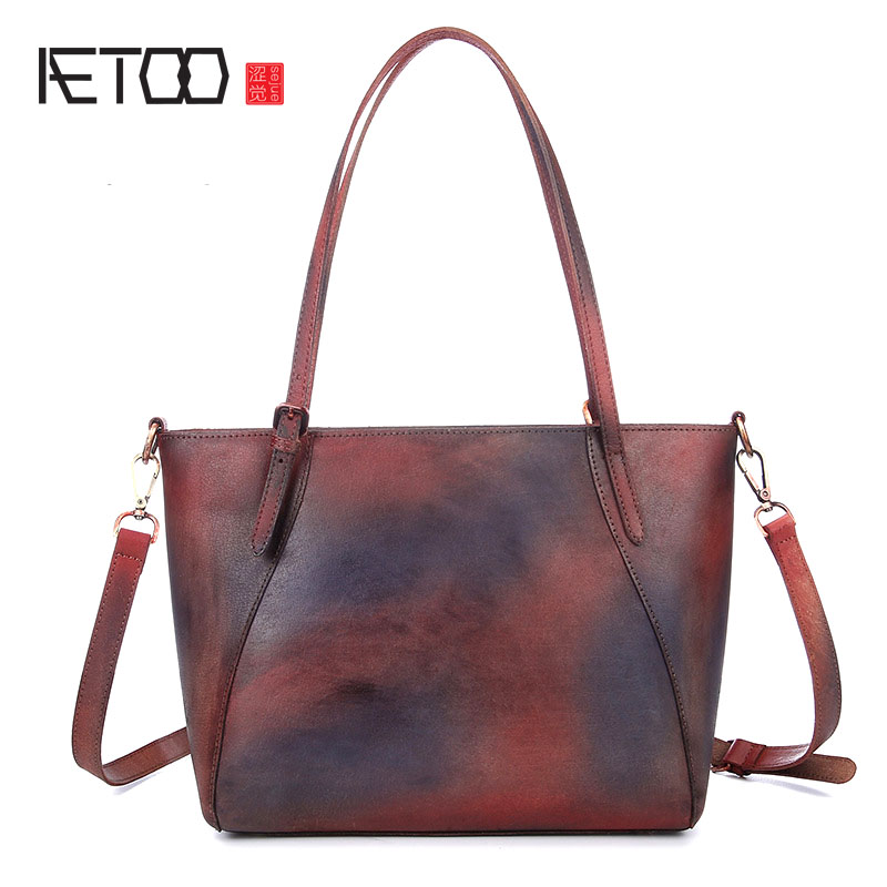 AETOO New retro wipe handmade handbags leather shoulder bag simple leisure first layer leather shopping bags aetoo spring and summer new leather handmade handmade first layer of planted tanned leather retro bag backpack bag