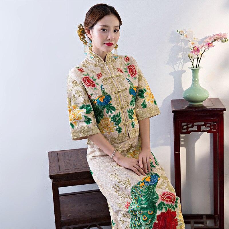 Старинные китайский стиль торжественное платье Королевский Феникс свадьба cheongsam костюм красный невесты традиционные Тан костюм вышивка