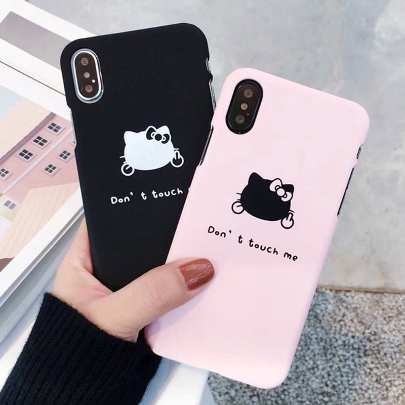 Fashion Phone Cases For iPhone 6 7 8 Cute Cartoon Animal HELLO KIKI Cat Hard plastic PC For iPhone 6 6S 7 8 X Plus Back Case SE