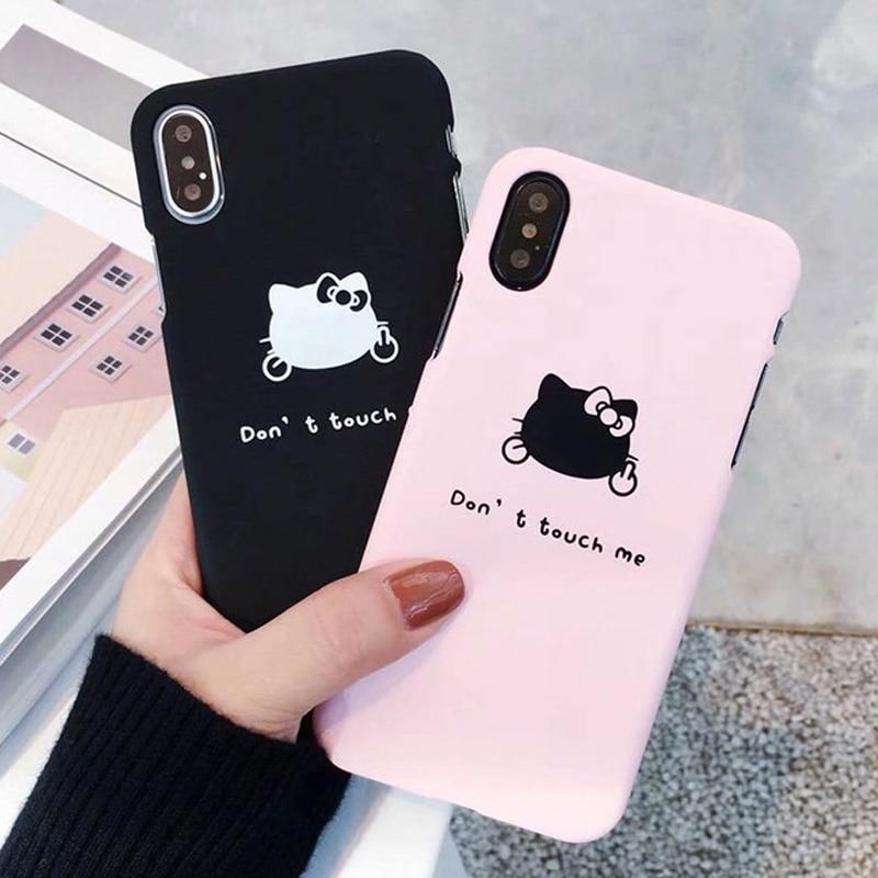 Fashion Phone Cases For iPhone 6 7 8 Cute Cartoon Animal HELLO KIKI Cat Hard plastic PC For iPhone 6 6S 7 8 X Plus Back Case SE