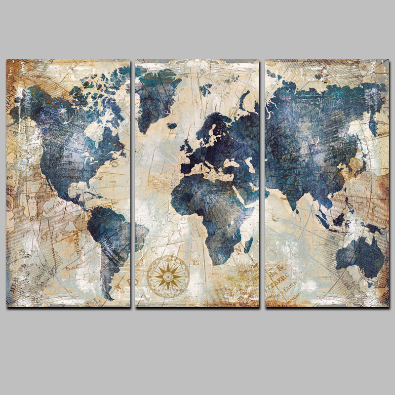 HTB1FU7jbStYBeNjSspkq6zU8VXaH 3Panel Watercolor World Map Modular Painting Posters and Prints on Canvas Scandinavian Cuadros Wall Art Picture For Living Room