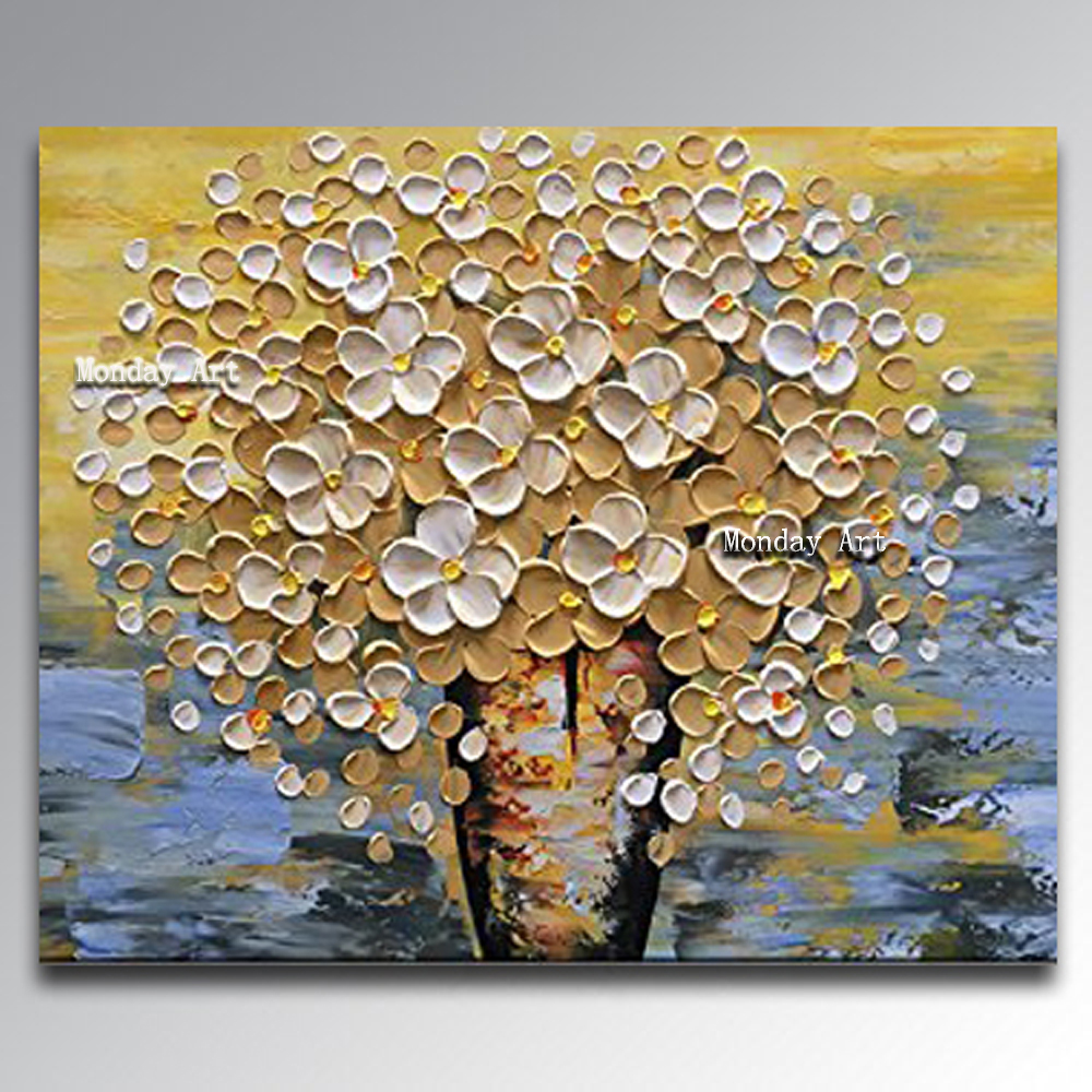big Hand painted modern golden money flower Paintings knife Flower Oil Painting On Canvas wall art picture for living room