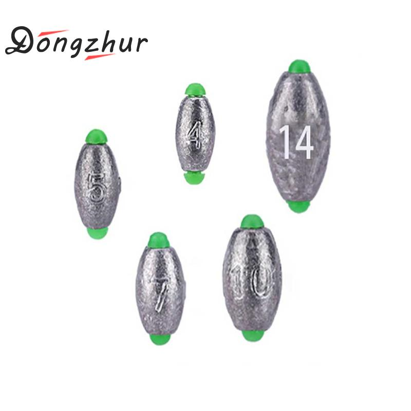 US $2 06 32% OFF|Dongzhur 10pcs/set Lead Weight Fishing Lead Sinker Mould  Olive Shaped Middle Pass Removable Split Lead Shot Sinkers Tackle Kits-in
