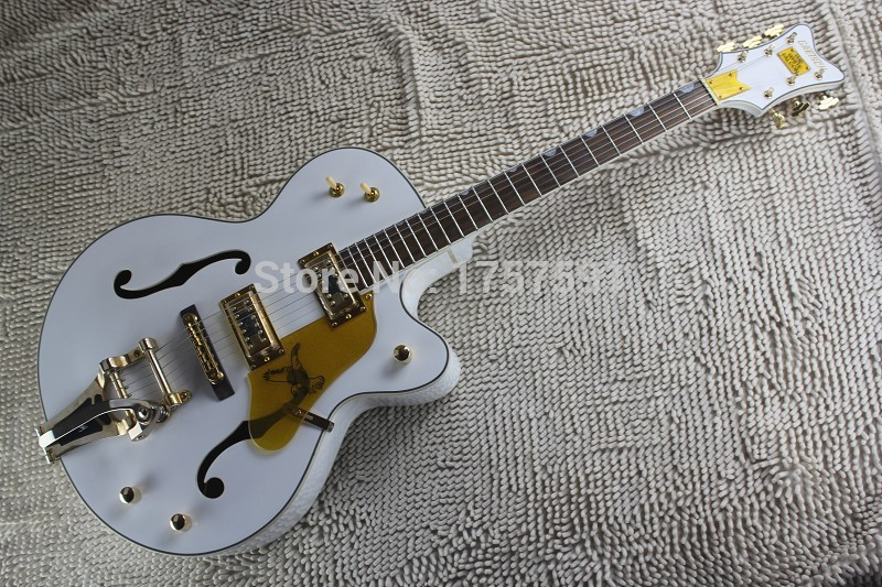 Factory Custom Korean Tuners GRETSCH THE WHITE FALCON 6120 Semi Hollow Body Electric Guitar With Bigsby Tremolo