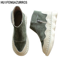 HUIFENGAZURRCS-Short autumn boots,casual arts retro boots,women's shoes, original hand made short boots, leather women's shoes huifengazurrcs vintage leather boots super soft bottom arts and crafts hand made original women s shoes short ankle boots