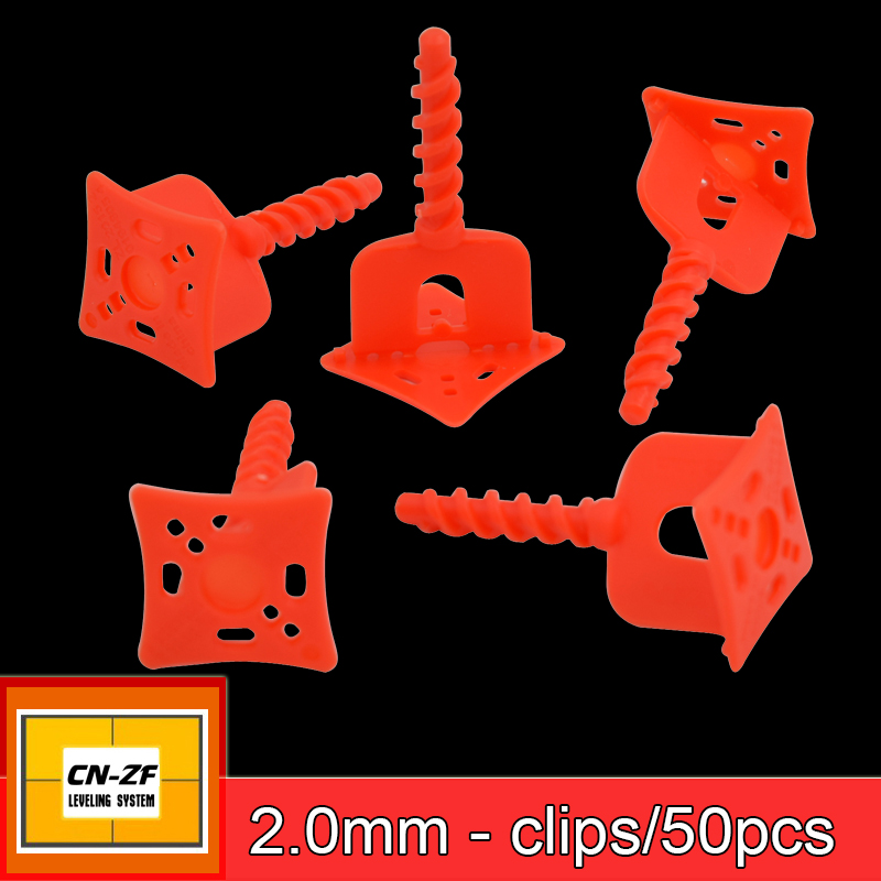 CN-ZF 50Pcs Clip Plastic Ceramic Alignment Spacers Level Floor Leveler Tile Leveling System Clips 2mm Tools For Tiles