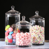 European Transparent Glass Jars Storage tank Lid Home Storage Bottles Container Kitchen Spice Sealed Bulk Candy ( 3PCS /set )