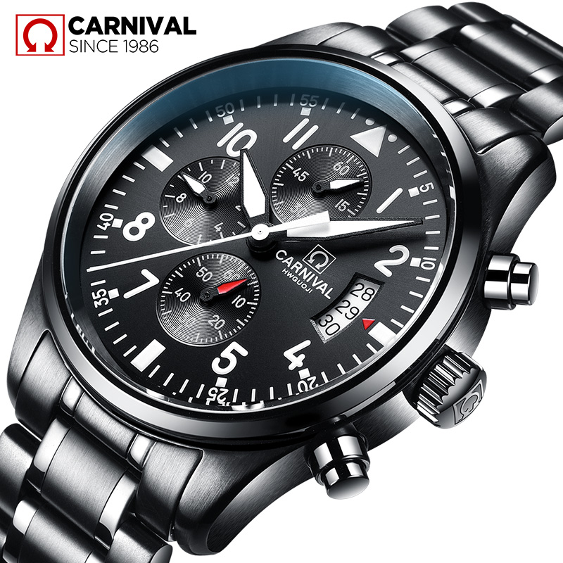 CARNIVAL New Luxury Men Watch HD Luminous Chronograph Quartz Watch Men Calendar Waterproof Fashion Casual Relogio masculinoCARNIVAL New Luxury Men Watch HD Luminous Chronograph Quartz Watch Men Calendar Waterproof Fashion Casual Relogio masculino