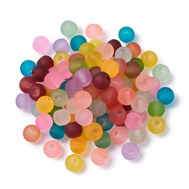 1 Bag Mixed Transparent Frosted <font><b>Glass</b></font> Round <font><b>Beads</b></font> for Jewelry DIY Making <font><b>4mm</b></font> 6mm 8mm 10mm Hole: 1mm; about 100pcs/bag F80 image